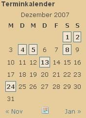 Ansicht Terminkalender